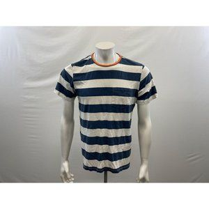 Hurley Men's White and Blue Striped Short Sleeve